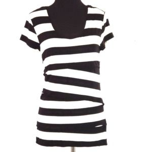 Vince Camuto Layered Asymmetrical Striped Top